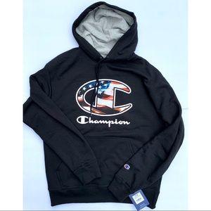 NWT Champion Black Hoodie American Flag Medium